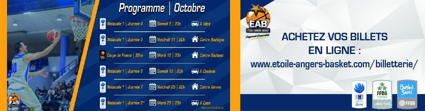 Les matchs du mois d'octobre à JEAN BOUIN et en déplacement